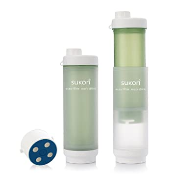 Sukori Portable Water Filter Bottle Bpa Free 470ml Latest Ag Activated Carbon Filter 400 Uses Reddot Nsf Sgs Awards Removes Chlorine
