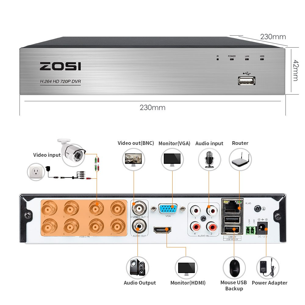 ZOSI Full HD 1080p Security Camera System, 8x 1080p HD Weatherproof Outdoor Surveillance Camera, 8CH 1080P CCTV DVR Recorder and 2TB Hard Drive, 100ft Night Vision, Customizable Motion Detection by ZOSI (Image #6)