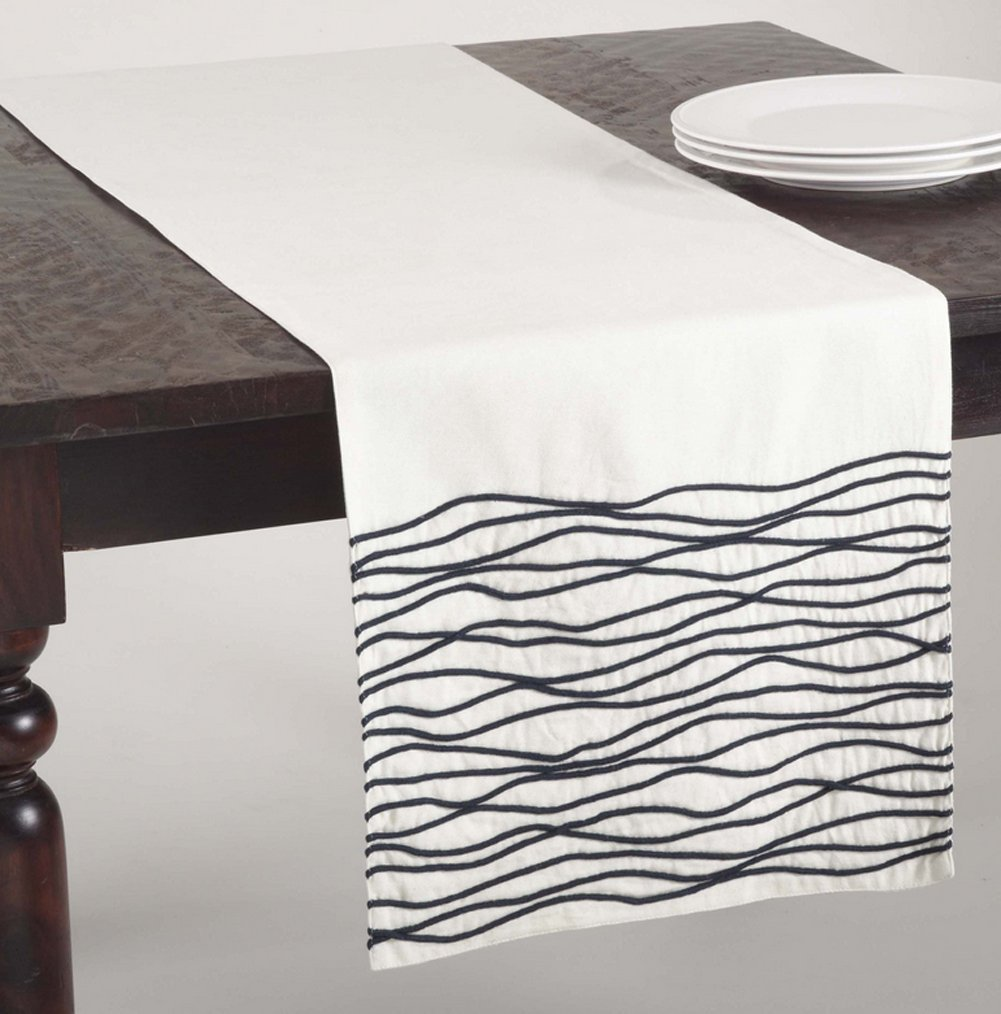 Wavy Line Cotton Table Runner (Navy Blue)