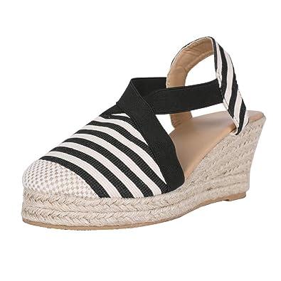 ceb95ff5ada2c Nailyhome Womens Espadrilles Platform Wedge Sandals Striped Elastic  Crisscross Strappy Closed Toe Mid Heel Sandals