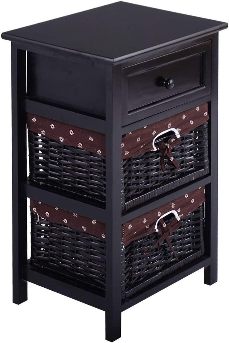 Casart Night Stand 3 Tiers 1 Drawer Bedside End Table Organizer Wood W 2 Baskets Black