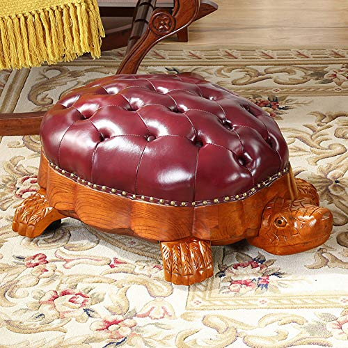 (QTQZDD American Solid Wood Shoes Bench,Carved Turtle Footstool with Wheels Leather Storage Bench Pedal with Wooden Legs-A 90x60x35cm(35x24x14inch))
