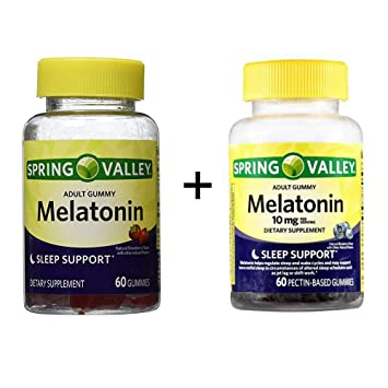 Spring Valley Adult Gummy Melatonin 5mg - Natural Strawberry Flavor Plus Spring Valley Adult Gummies Melatonin