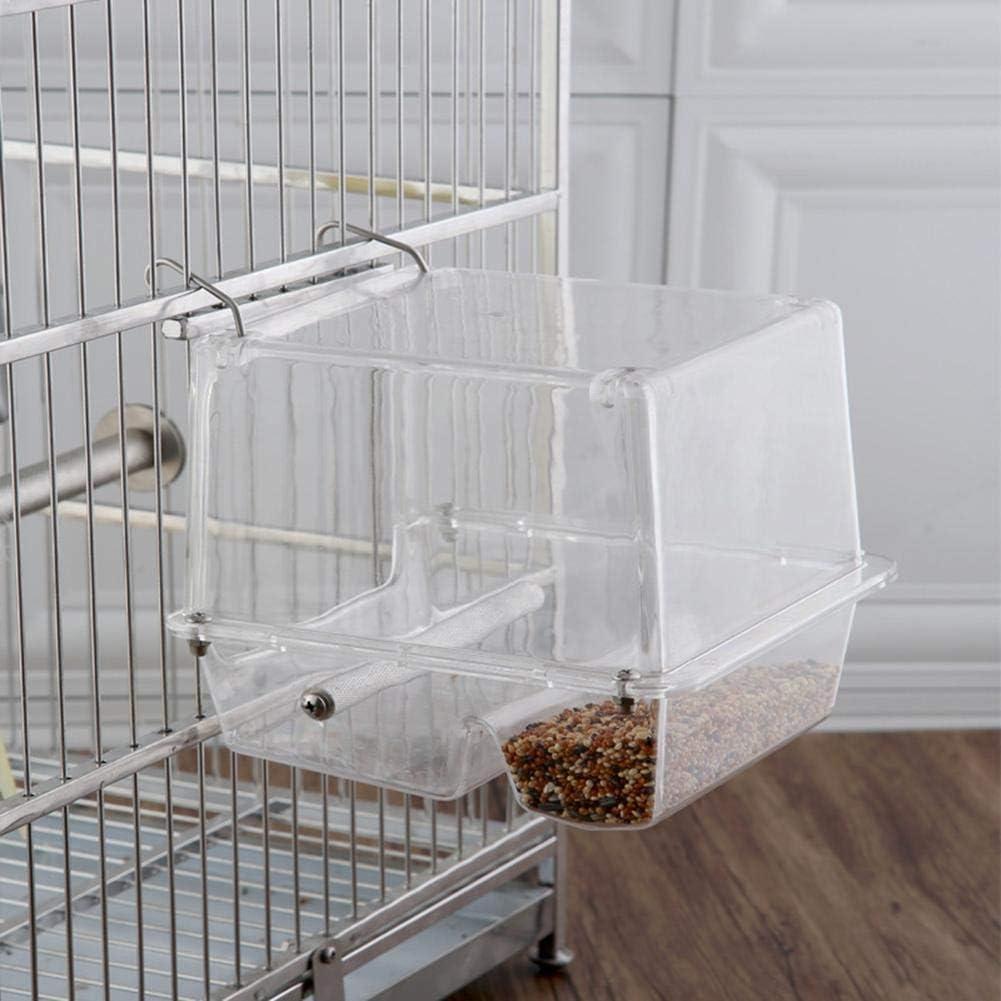 Allowevt Alimentador de jaulas de pájaros Alimentador de Semillas de Loros Acrílico Sin desorden Colgante Bandeja de alimentación de Alimentos para pájaros Bandeja para Loro Periquito justifiable