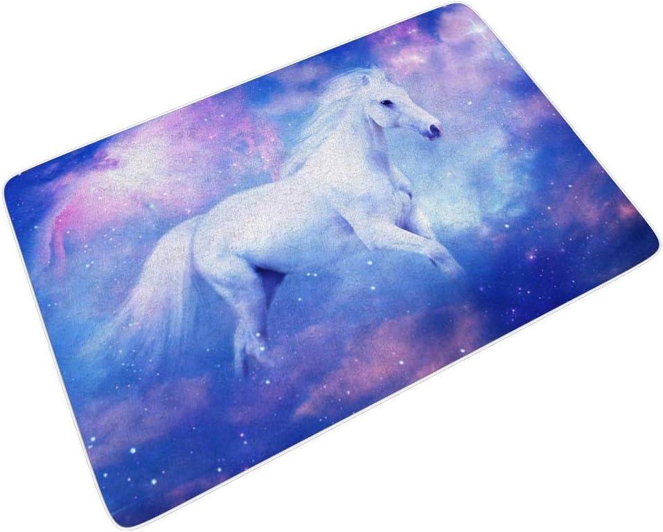 RQPPY - Felpudo para entrada (40 x 60 cm), diseño de caballo blanco y rosa, Blanco, 24x35 inch