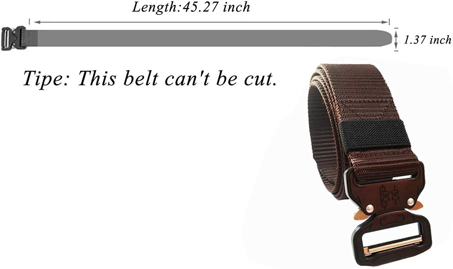 LANBAOSI Mens Tactical Belt Military Outdoor Nylon Web Belt With Metal Buckle