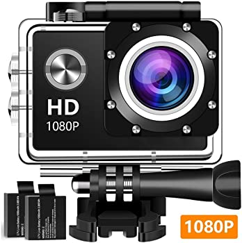 Rzmxva 12MP 1080P Full HD Waterproof Action Camera with Accessories Kit