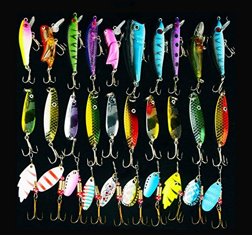 30pcs Metal Fishing Lures Minnow Poper Baits Spinner Bait Spoon Lures Tackle Crankbait Assorted Fishing (Spinner Spoon)