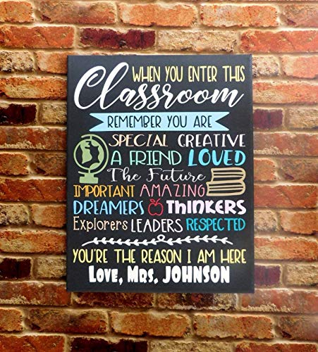 When You Enter This Classroom Teacher Sign Classroom Wall Decor Canvas by 716PromoDesigns