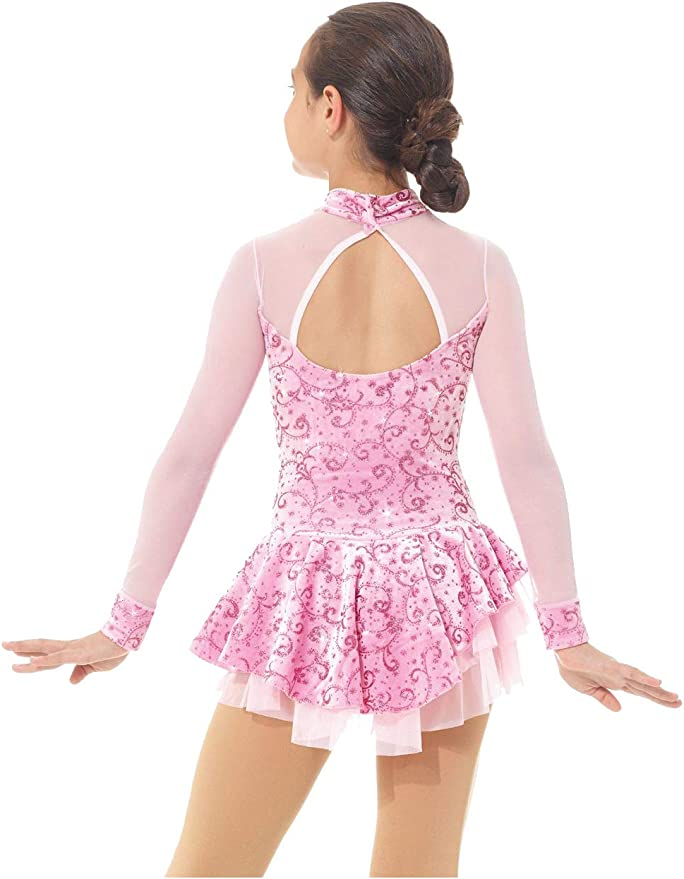 Mondor 2768 Victorian Pink Mock Neck Glitter Figure Ice Skating Dress