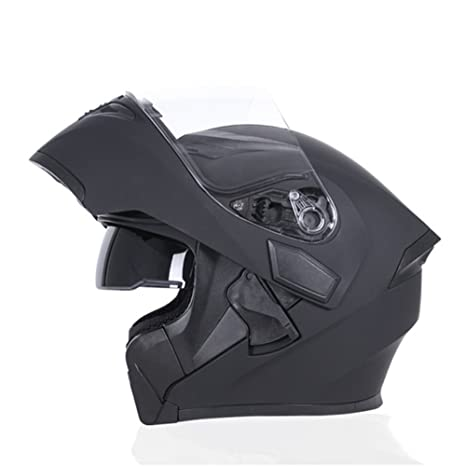 Amazon.com: JIEKAI Double Lens Helmet Modular Motorbike Helmet Flip Up Motorcycle Helmet For Motocross Racing (Large, Black): Automotive