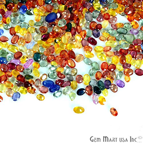 Multi Sapphire Choose Your Lots Size and Shape Mix Gemmartusa loose Gemstone (50Cts Pears and Oval) (MS-60001)