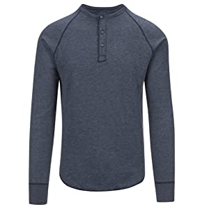Save Khaki Men's L/S Pointelle Henley Shirt SK013-PT Navy SZ L