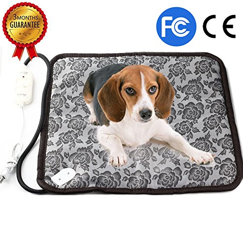Pet Heating Pad, Dog Cat Electric Heating Pad Waterproof Adjustable Warming Mat with Chew Resistant Steel Cord 17.7″x17.7″
