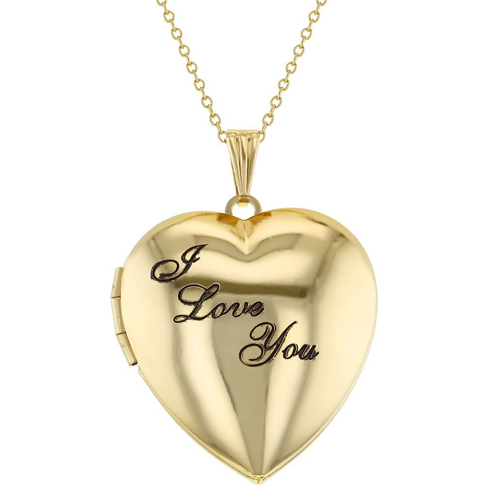 Gold Tone Family Love Heart Photo Locket I Love You Pendant Necklace 19 In Season Jewelry 09-0386