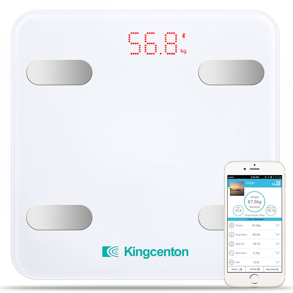 Kingcenton Bluetooth Body Fat Scale, Smart Wireless Digital Bathroom Scale with IOS and Android App Measures Body Weight, Fat, Water, BMI, BMR, Muscle Mass, Bone Mass and Visceral Fat, White