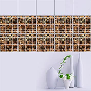 AddLife Brown Mosaic Tiles Sticker DIY Removable Wallpaper Home Living Room Bedroom Bathroom Kitchen Waterproof Wall