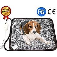 "Pet Heating Pad, Dog Cat Electric Heating Pad Indoor Waterproof Adjustable Warming Mat with Chew Resistant Steel Cord 17.7""x17.7"""