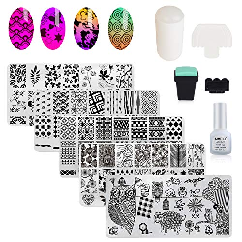AIMEILI Nail Art Stamping Templates Manicure Tool Kit, 5pcs Nail Stamping Plates, 1 Latex Peel Off Tape, 2 Stamper, 2 Scraper (Nail Art Stamper)