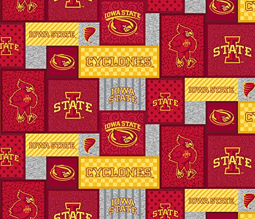 Iowa State Fleece Blanket Fabric-Iowa State Cyclones Fleece Fabric with New Patch Pattern-Sold by The Yard-SYKEL