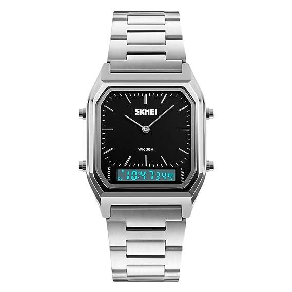 De mujeres u hombres de oro reloj de acero inoxidable electrónica,Moda led impermeable digital vintage doble pantalla alarma de múltiples funciones ...