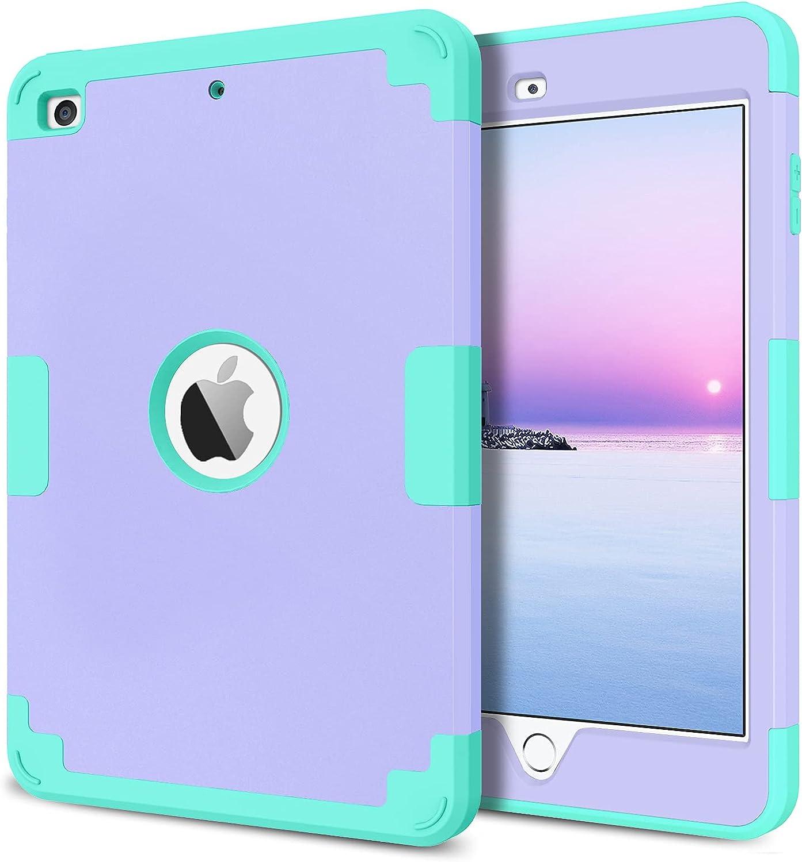 BENTOBEN iPad Mini 5 Case, iPad Mini 4 Case, 3 in 1 Heavy Duty Hybrid Hard PC Soft Silicone Anti-Slip Rugged Full Body Shockproof Protective Cover for iPad Mini 4th / 5th Generation, Purple