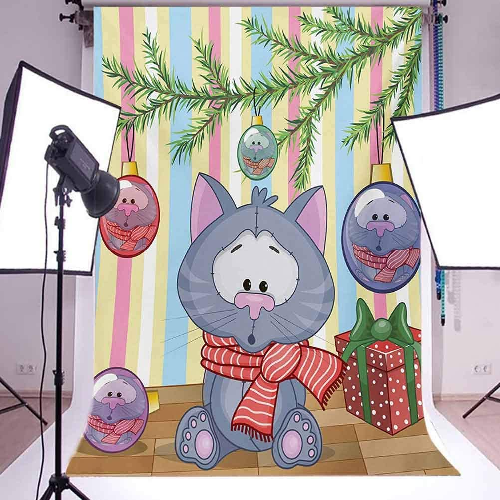 Christmas 6.5x10 FT Backdrop Photographers,Kitten with Scarf under the Tree with Ball Celebration and Gift Box Cat Themed Background for Child Baby Shower Photo Vinyl Studio Prop Photobooth Photoshoot