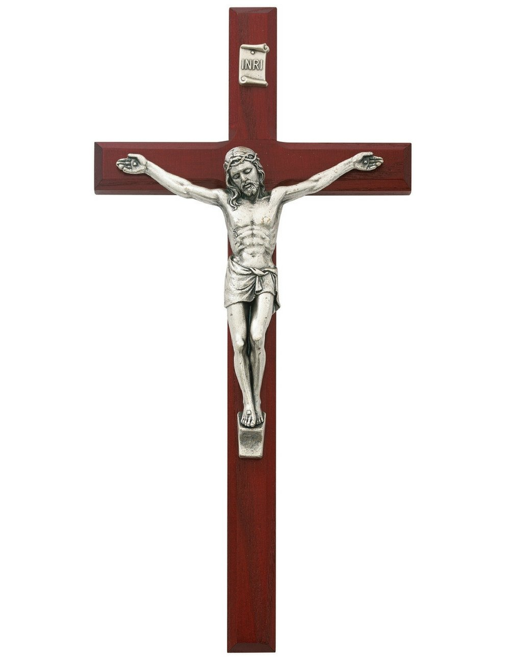 All Patron Saints Cherry Wood Crucifix Wall Cross with Silver Color Corpis and INRI 10 Inch by All Patron Saints