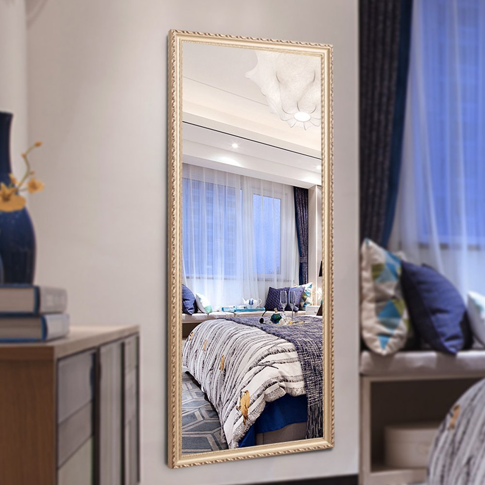 H&A 65''x22'' Full Length Mirror Bedroom Floor Mirror Standing or Hanging (Champagne) by Hans & Alice