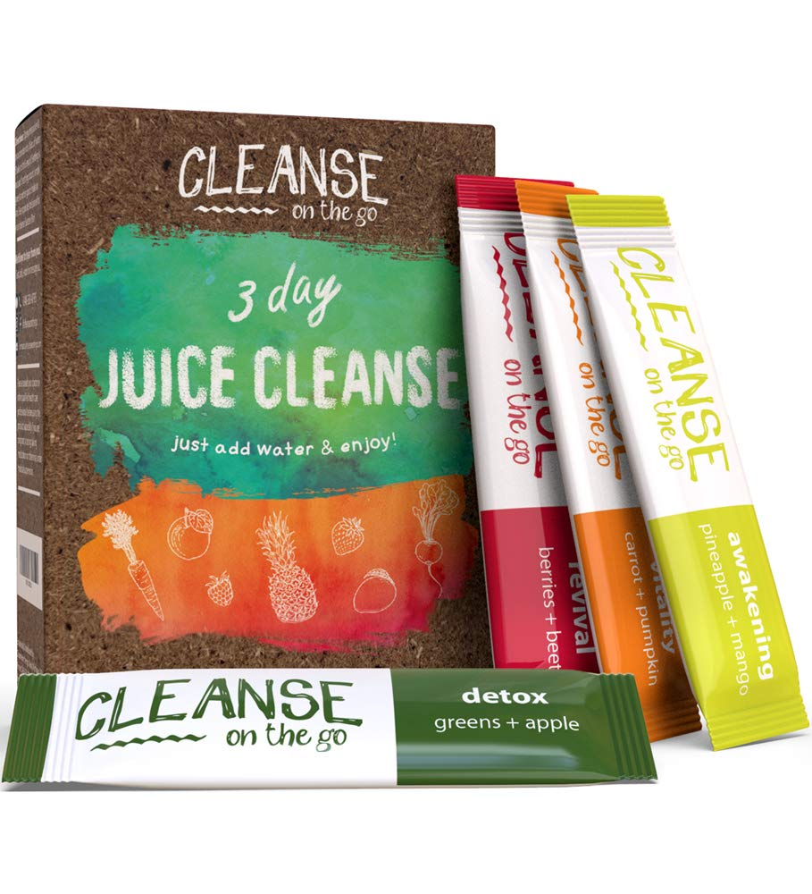 3 Day Juice Cleanse - Just Add Water & Enjoy - 21 Single Serving Powder Packets by CLEANSE on the go