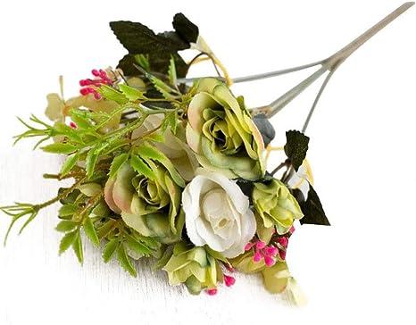 Whiie891203 Piante Artificiali di Fiori Finti Composizioni di Mazzi di Fiori Decorazioni Centrotavola Floreali da Tavolo per Cucina Domestica Garden Party Grave Decorazioni Fai da Te Bianca