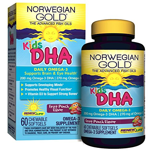 Norwegian Gold - Kids DHA Omega 3 supplement - 60 chewable fruit punch softgels - Renew Life brand by Renew Life