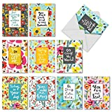 The Best Card Company - 10 Blank Inspirational Note Cards Boxed (4 x 5.12 Inch) - Words For Friends M6482OCB