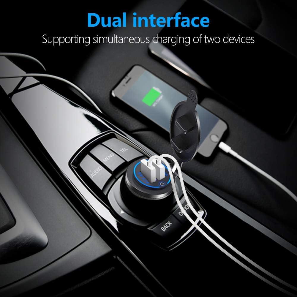 Thlevel Doble z/ócalo de Cargador USB 4.2A con Interruptor Doble Toma de Corriente del Cargador de Coche USB 5V QC3.0 Cargador Dual USB Toma