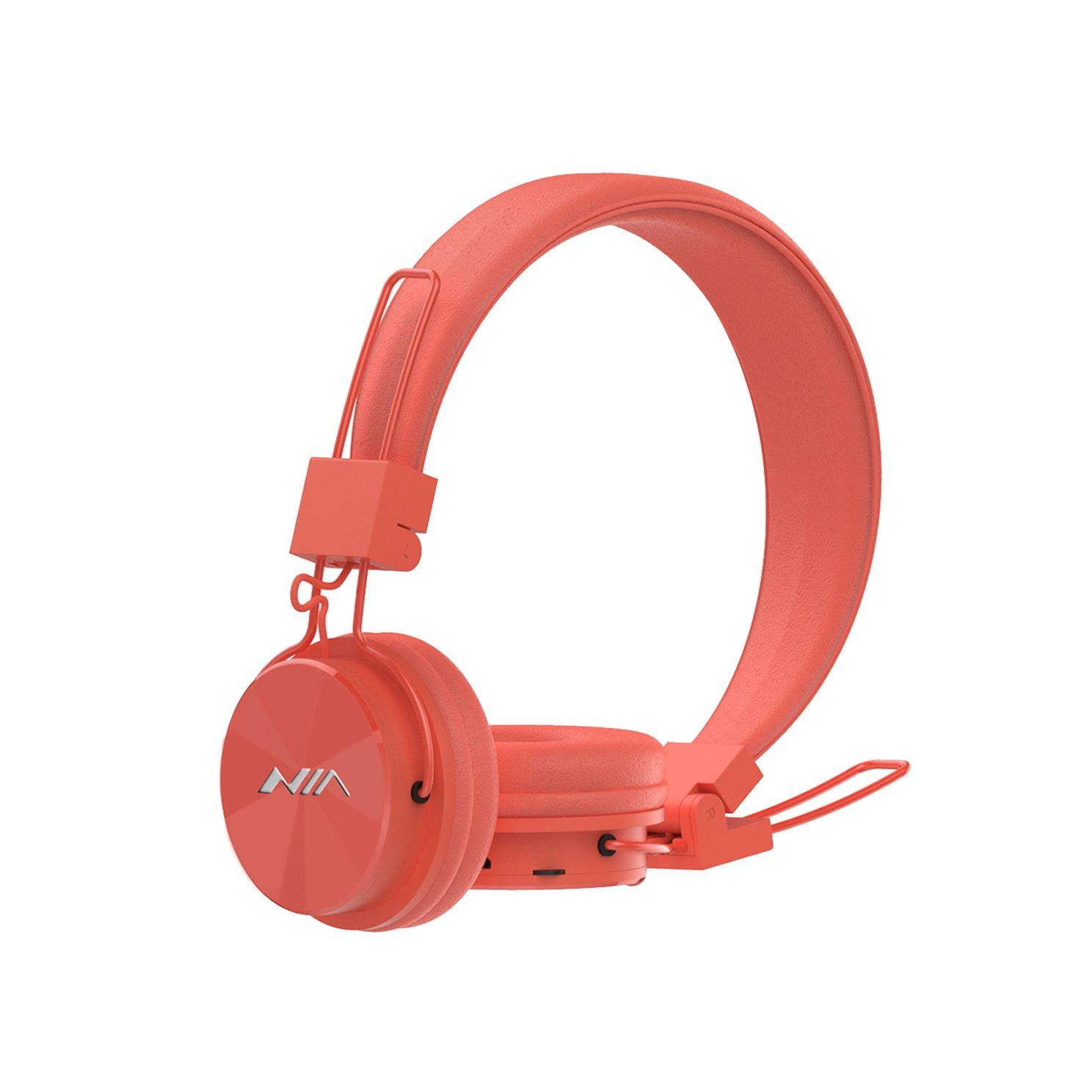 AiTalk X3 - Auriculares inalámbricos con Bluetooth, ergonómicos, con micrófono, Tarjeta de Apoyo TF, Radio FM Naranja: Amazon.es: Electrónica