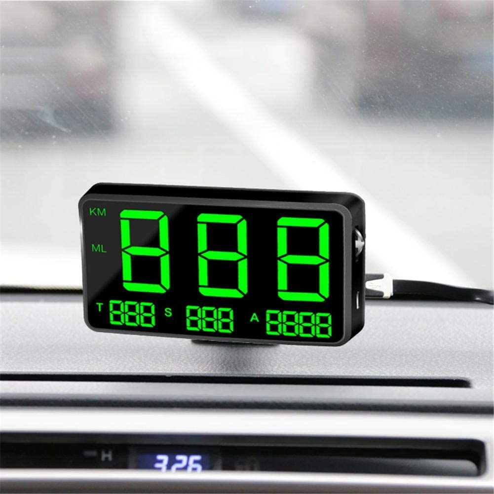 heirao4072 C80 Universal Digital Car HUD Head Up Display GPS Speedometer with Over Speed ​​Alarm Fatigu/é Driving Warning Windshield Project for Bike Motorcycle Car