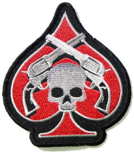 Skull Ghost Gun Cross Ace Card Poker Flame Biker Polo Shirt jacket Embroidered Sew Iron on Patch,Size 4 inch X 4.5 inch