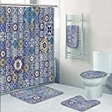 vanfanhome 5 Piece Bath Set:1 Large Bat Mat 1 Contour Mat 1 Bath Towel, Mega Gorgeous seamless patchwork pattern from colorful Moroccan tiles,ornaments used wallpaper Pattern printing suit