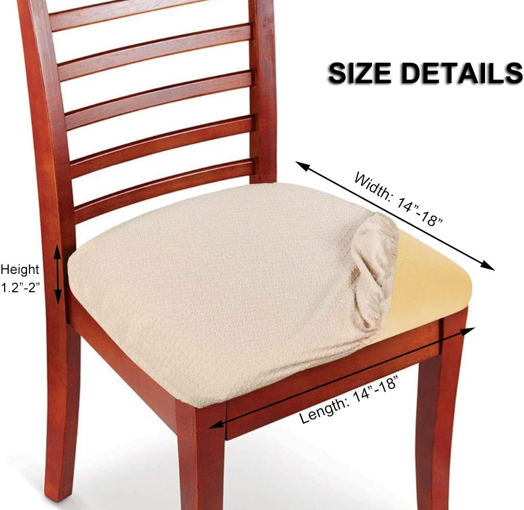 Amazon Com Womaco Upholstery Fabric For Chair Dining Kitchen Chair Seat Cover Stretchable Chair Pad Cover For Dining Beige Set Of 4 Home Kitchen