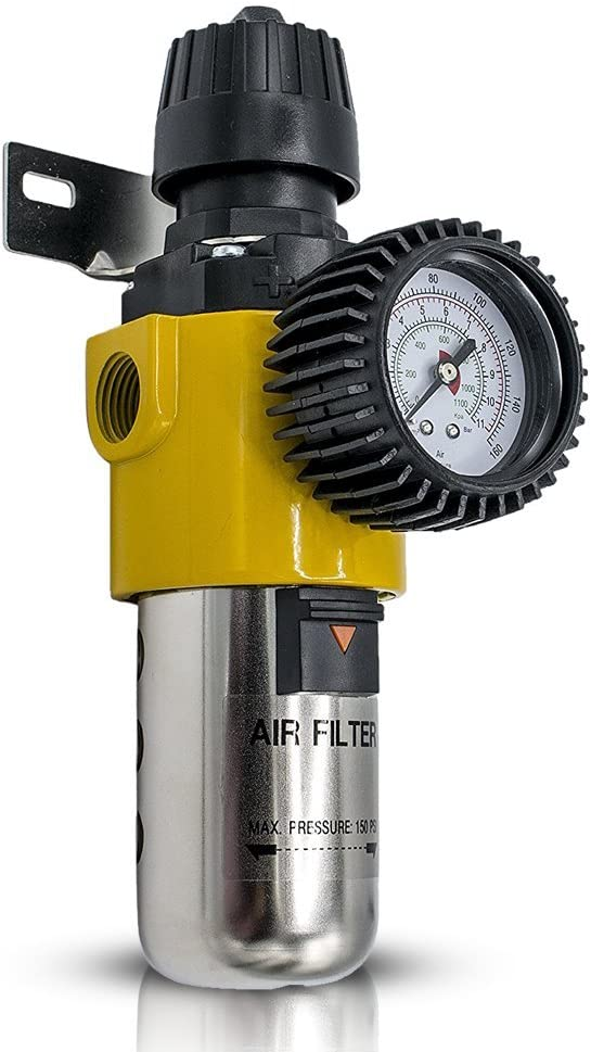 Air Compressor Regulator with Gauge | Inline Water, Air Seperator Filter (AS209)