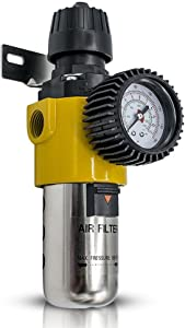 Air Compressor Regulator with Gauge   Inline Water, Air Seperator Filter (AS209)