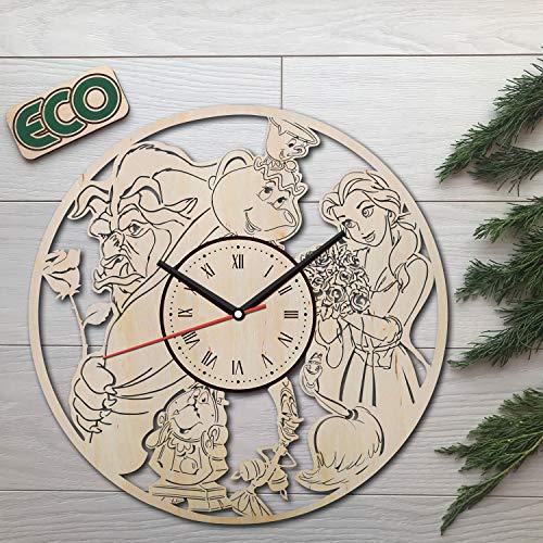 (Beauty and the Beast Wall Clock - Battery Operated Non Ticking Clocks - Wood Modern Wall Decor - Kitchen Office Garage Decorative Clocks - Custom Gift Birthday Christmas Anniversary -)