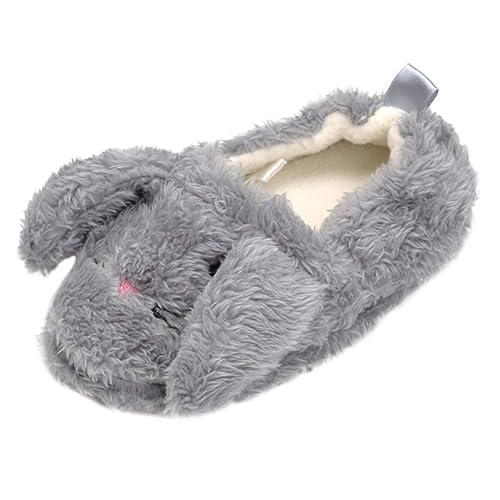 Children Baby Girls Boys Cartoon Indoor Rabbit Print Flock Winter Warm Shoes