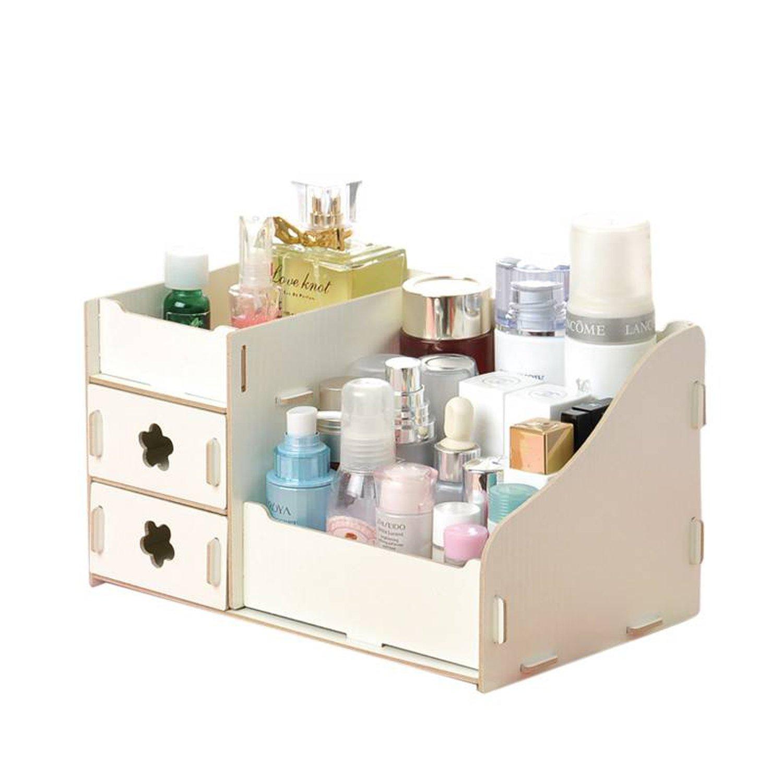 Good-memories Wooden Office Storage Box Handmade DIY Assembly Cosmetic Organizer Wood Box,White