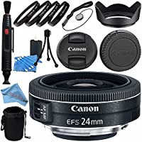 Canon EF-S 24mm f/2.8 STM Lens 9522B002 + 52mm Macro Close Up Kit + Lens Cleaning Kit + Lens Pouch + 52mm Tulip Lens Hood + Fibercloth Bundle