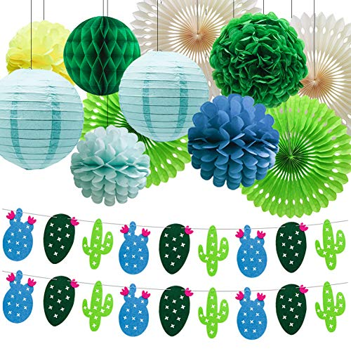 Summer Theme Cactus Banner Garland, Pom Poms Paper Honeycomb Flowers Tissue Paper Fan Paper Lanterns for Tropical Party Birthday Party Luau Hawaii Party Decoration -