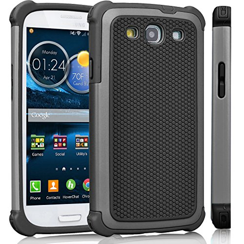 Galaxy S3 Case, Tinysaturn(TM) [Ysaturn Series] Durable Hybrid Impact Armor Dual Anti-Slip Shockproof Against Scratches Hard Shell Rubber Case For Samsung Galaxy S3 S III i9300 [Grey/ Black]