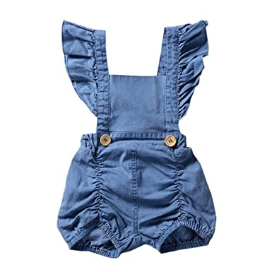 b4617f503c45 Minisoya Newborn Infant Baby Girl Denim Dress Backless Ruffle Romper  Jumpsuit Sunsuit Outfit Toddler Playsuit Clothes