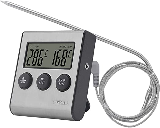 Digital LCD Oven Thermometer Kitchen Grill Food Cooking Meat BBQ Probe w//Timer