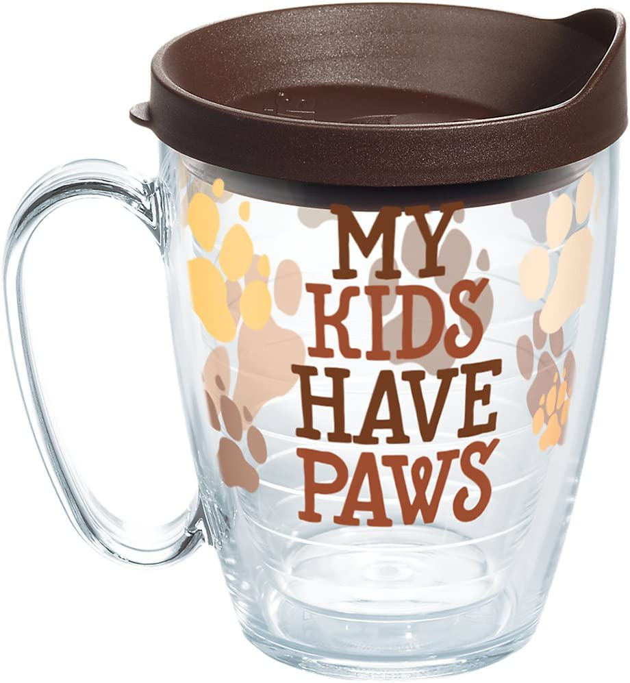 Tervis 1258373 My My Kids Have Paws Insulated Tumbler with Wrap and Brown Lid, 16oz Mug, Clear